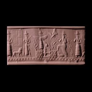Greenstone cylinder seal of the scribe Adda ; c.2300-2200 BCE. (BM 89115). © The British Museum.