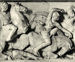 detail of the so-called Alexander Sarcophagus Marble relief,451/4 in. high. Istanbul, Archaeological Museum