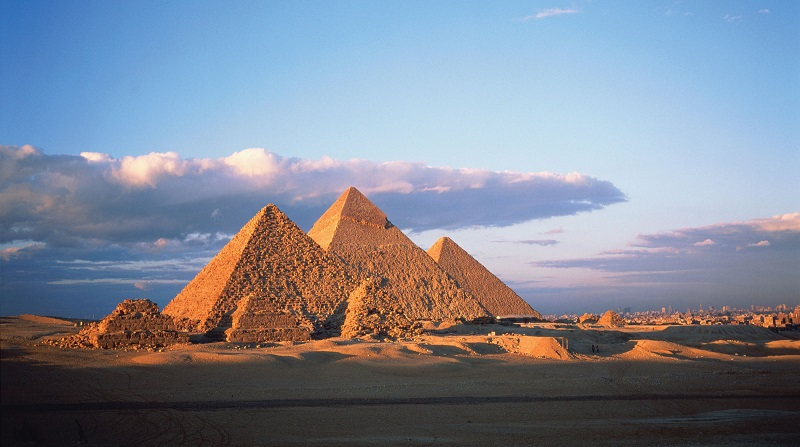 The Pyramids of Giza, scholarly use courtesy of Encyclopedia Brittanica; © Sylvain Grandadam—Stone/Getty Images