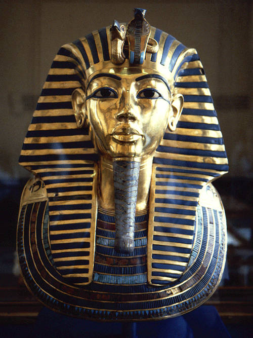 Mask of Tutankhamun, from the innermost coffin.  Ownership now © The Museum in Cairo, reused here for non-commercial scholarly use only.