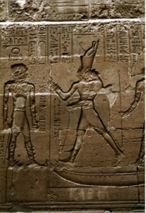 Egyptian, Temple of Horus, Horus of Behdet slaying Seth in Form of Hippo. 4-1 centuries B.C.E., relief, Edfu, Egypt. Available from: ARTstor, http://library.artstor.org (accessed 15 April 2015).