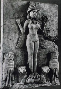 """Babylonian, Winged Goddess, called """"Lillith"""" (Possibly Ishtar/Inanna), attended by owls and lions. 2025-1763 B.C.E., terracotta relief panel, 51 cm, Norman Colville Collection, London. Available from: ARTstor, http://library.artstor.org (accessed 15 April 2015)."""