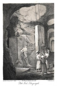 Print of women in a cave.