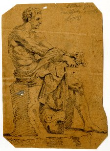 Illustration of a seated male figure with drapery.