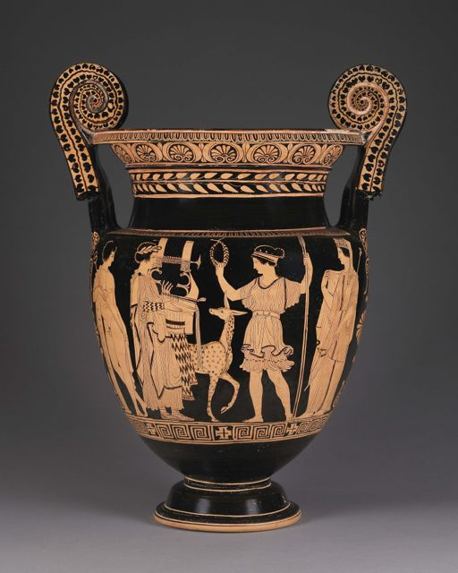 Black vase with tan figures of humans, animals, and geometric details.