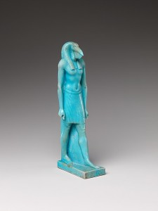 Bright blue figure of Thoth walking.
