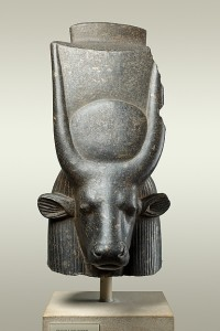Sculpture of the head of a cow goddess.
