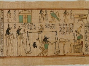 Papyrus illustrations of human figures, animals, and hieroglyphics.