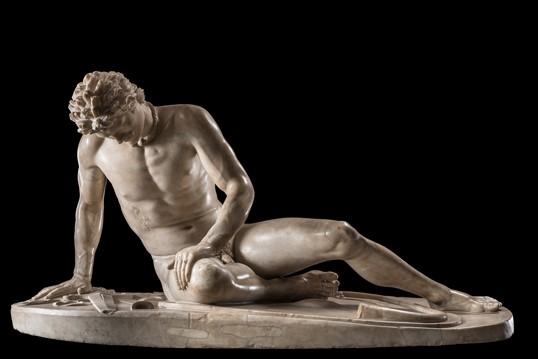 A marble sculpture of a dying man.