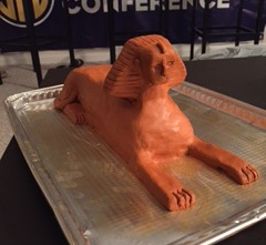 A student's clay reconstruction of The Great Sphinx.