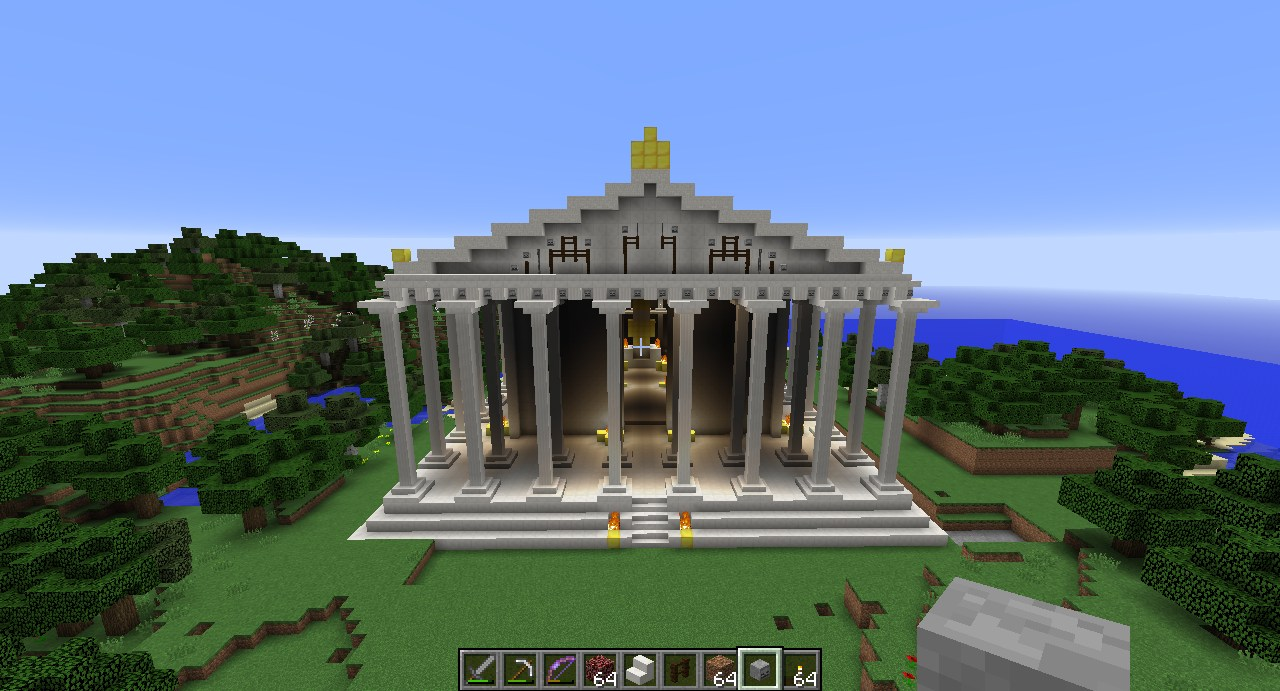 Screenshots of a Minecraft reconstruction of the Parthenon.