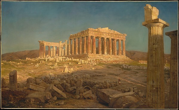 Representation of the Parthenon, a colonnaded rectangular building surrounded by ruins.